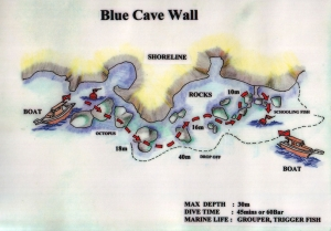 Blue Cave Wall dive site in Oludeniz Turkey